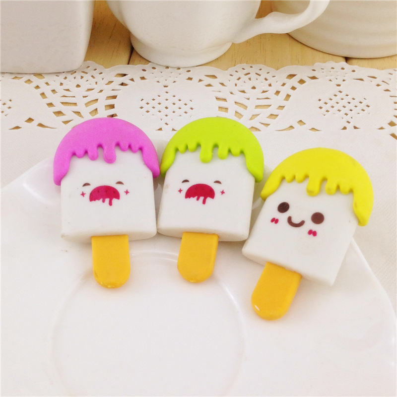 5 Pcs/lot The New Creative Cartoon Expression Of Ice Cream Eraser Students Correction Stationery Supplies 4.5x2.5cm