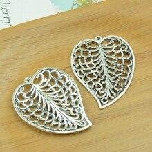 20 шт./лот A2186 старинное серебро в форме сердца форма сплава шарм подвеска подходящие делая 47 x 37 мм