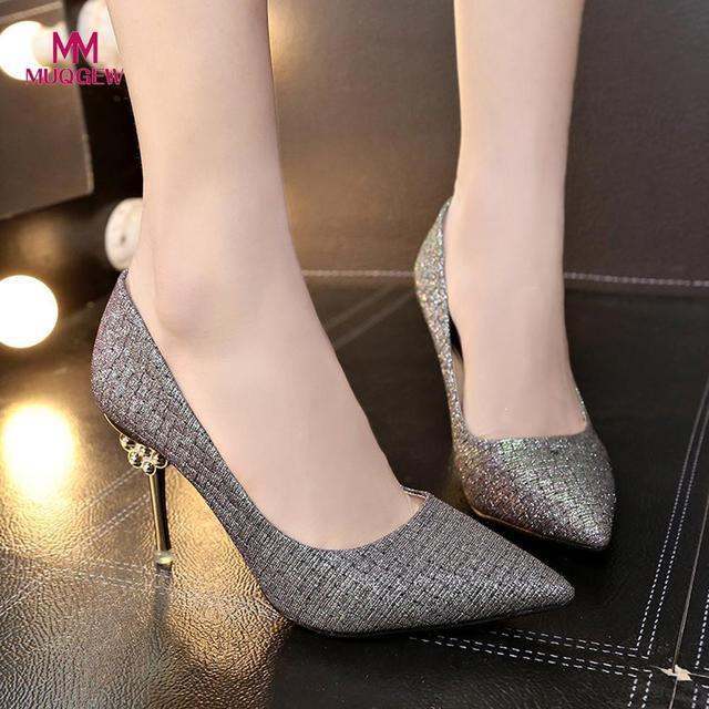 Fashion Women Shoes Solid Color Paillette Pointed Shoes Girls High Heeled Shoes Silver Feminine Charm