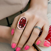 Vintage Exaggerated Rectangle Big Ruby Ring Pigeon Eggs Red Cubic Zirconia Ring 18K Gold Plated Women