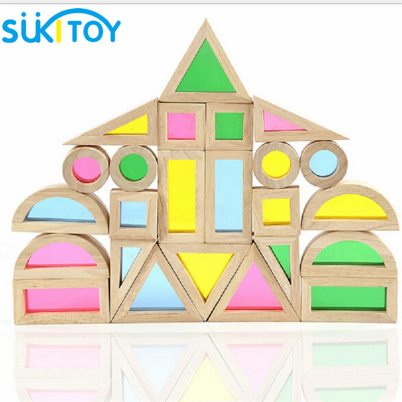 SUKIToy 24PCS Wooden Toy Building Blocks Montessori 6 Shape 4 Translucent Colours Rainbow Colorful Set Brinquedo For Children elc 100 bricks toy wooden building blocks storage bag confirm to en 71 freeshipping