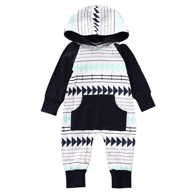 ae1dc28664101 Infant Newborn Rompers Baby Boys Girls Jumpsuit Autumn Winter Outfit Hooded  Print Baby Clothes Unisex Baby One Piece Cute 0-24M