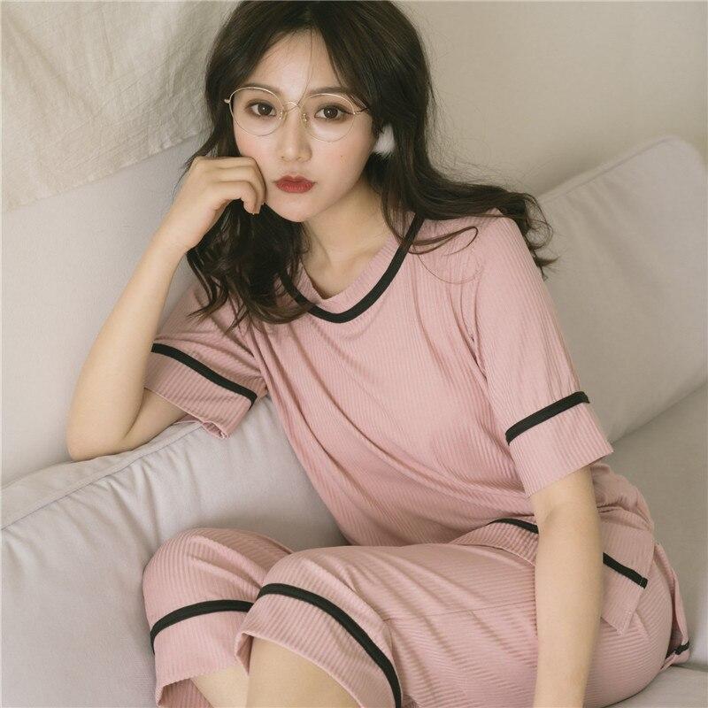 2019 Summer Women Cotton   Pajamas     Sets   Solid Color O-Neck Pyjama Short Sleeve Calf-Length Pants Female Sleepwear Pijama