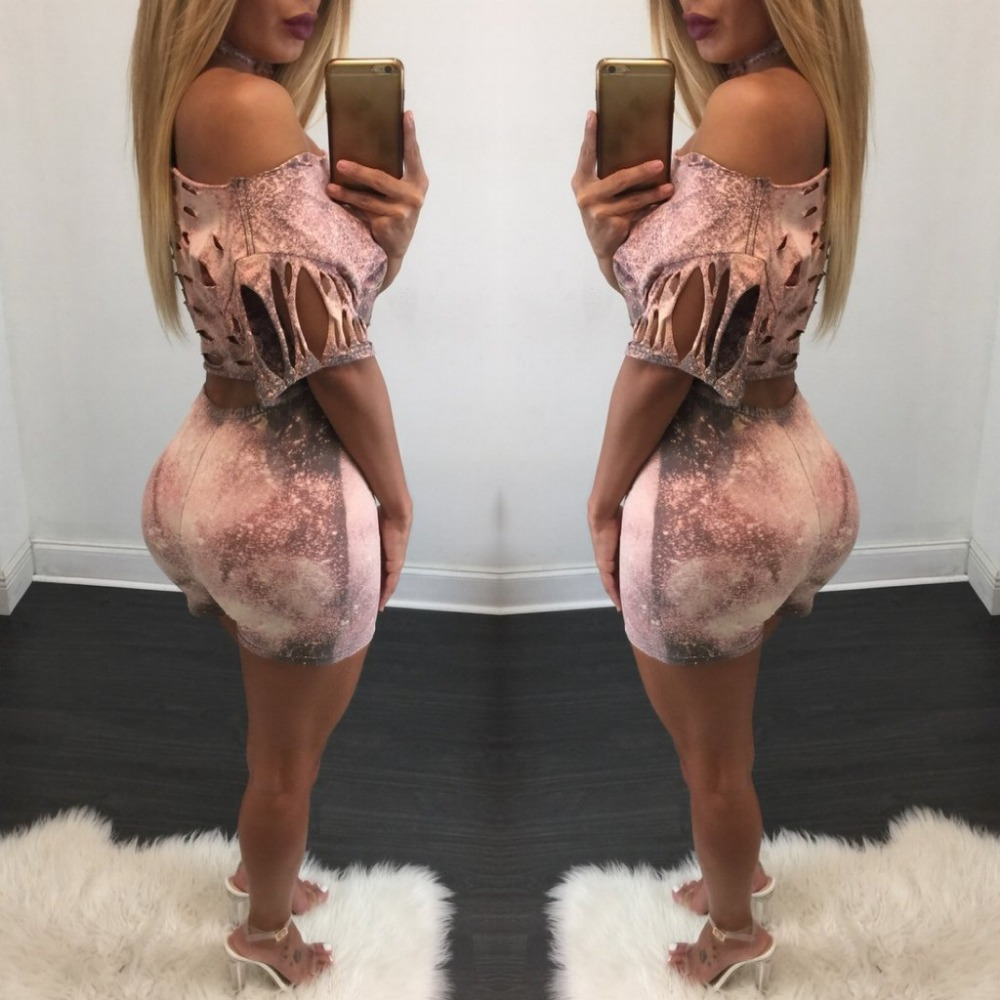 2016 Hot FASHION Women Sexy 2 Pieces Skinny Print Jumpsuits Lady Winter Style Vestidos Rompers Bodysuits Casual Club Playsuits