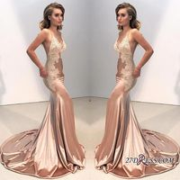 Babyonline Sexy Backless Lace Appliqued Prom Dresses Deep V Neck Formal Party Dresses Champagne Evening Gown Robe de soiree