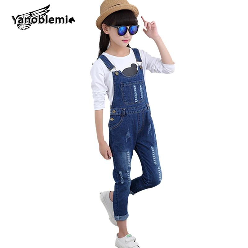 2-12Y márka lányok farmer jumpsuit gomb zseb szilárd overál pamut lyuk hasított egyenes nadrág tavaszi őszi lány farmer farmer