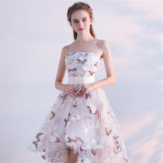 Strapless Pleat Lace Up High-low Asymmetry Vintage Elegant Flowers Taffeta Dress