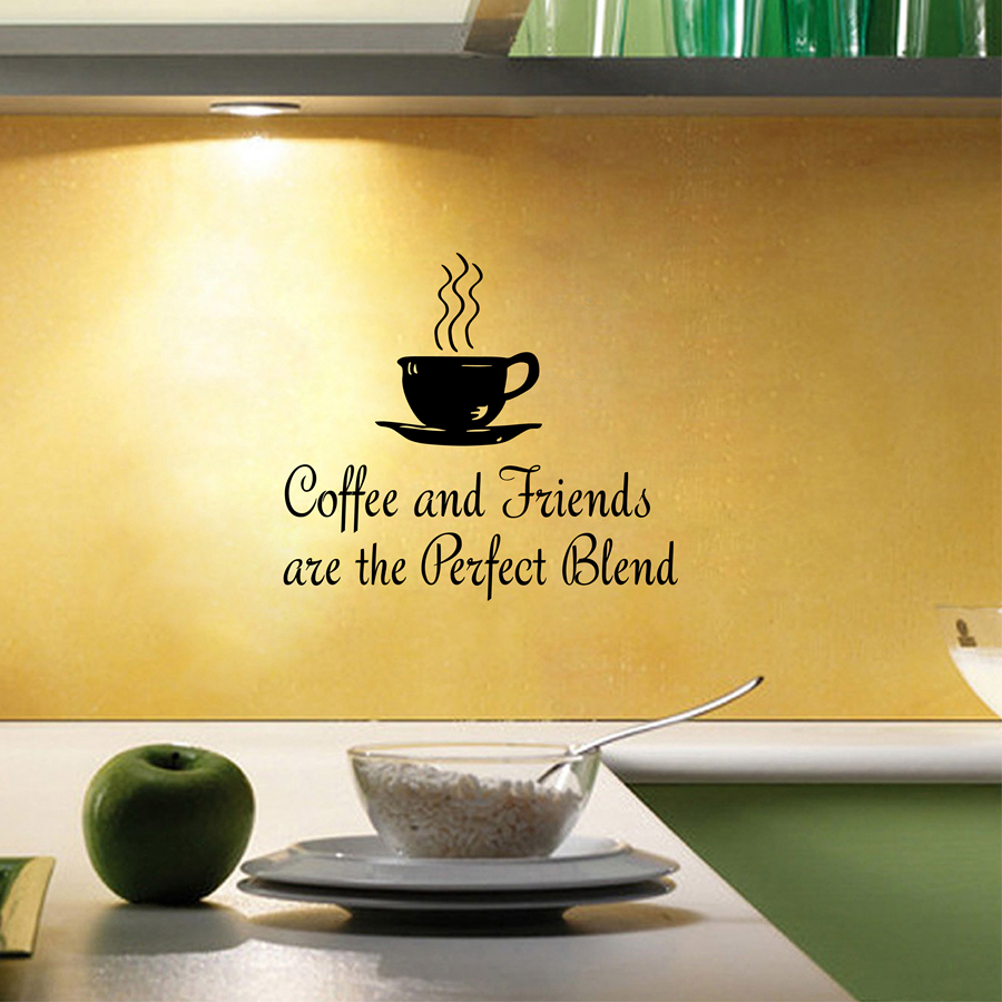 "Quotes About Coffee And Friendship Kitchen Coffee Quotes Wall Decal "" Coffee And Friends."" Vinyl"