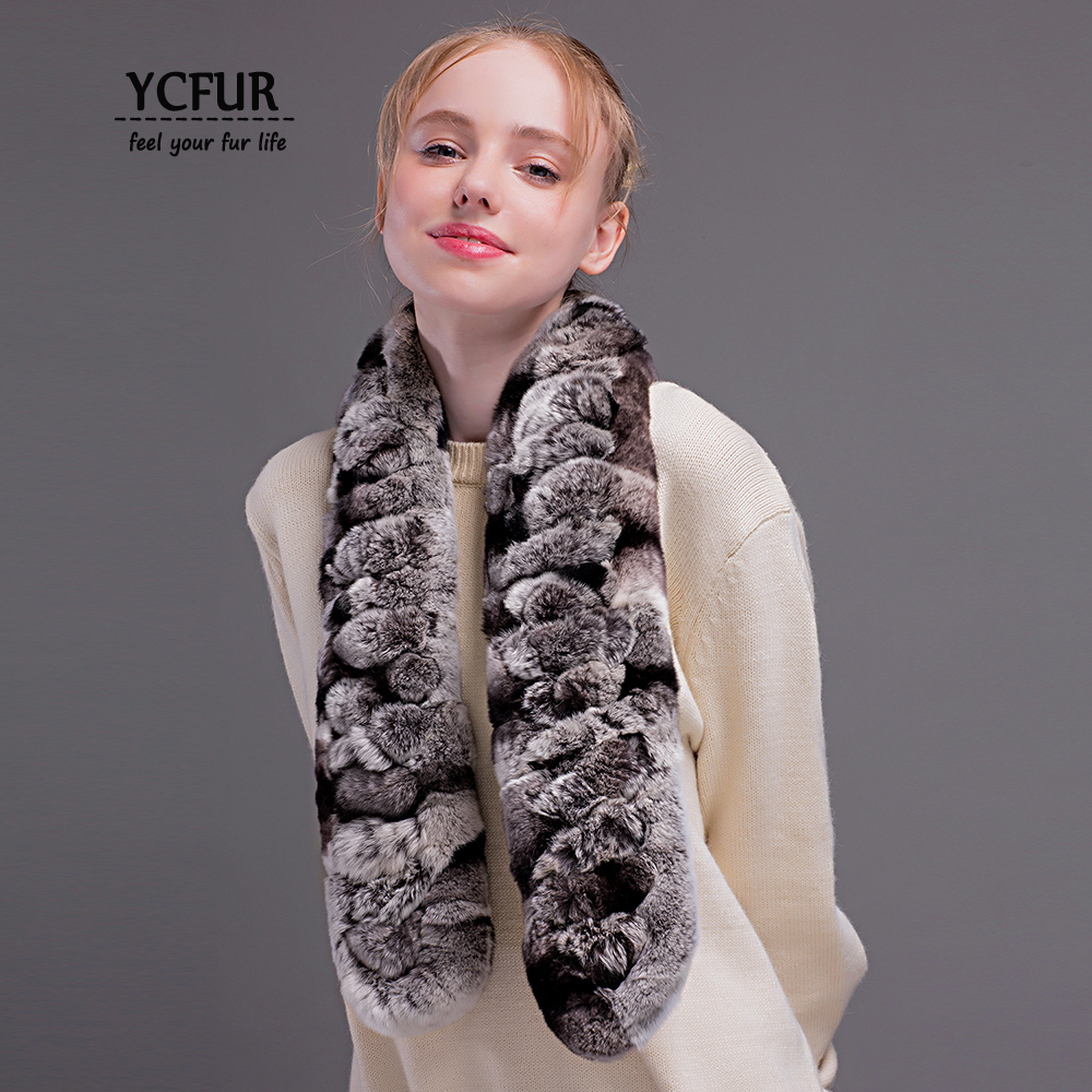 YCFUR Fashion Women   Scarves     Wraps   Winter Handmade Real Rex Rabbit Fur   Scarf   For Lady Winter Warm Fur Scarfs Shawls Female