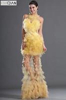 Бесплатная доставка Новое поступление Оболочка Сексуальная Желтый Тюль вечернее платье