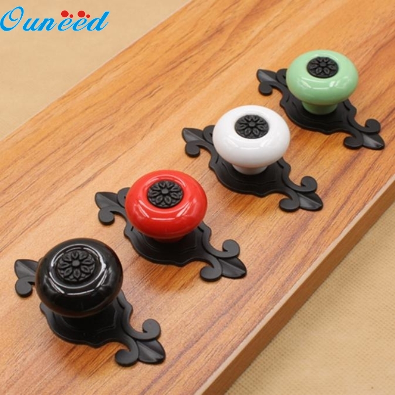 Ouneed Happy Home 2017 Matte Black Pull Handle Vintage Ceramic Door Cabinet Cupboard Knobs Drawer 1 Piece