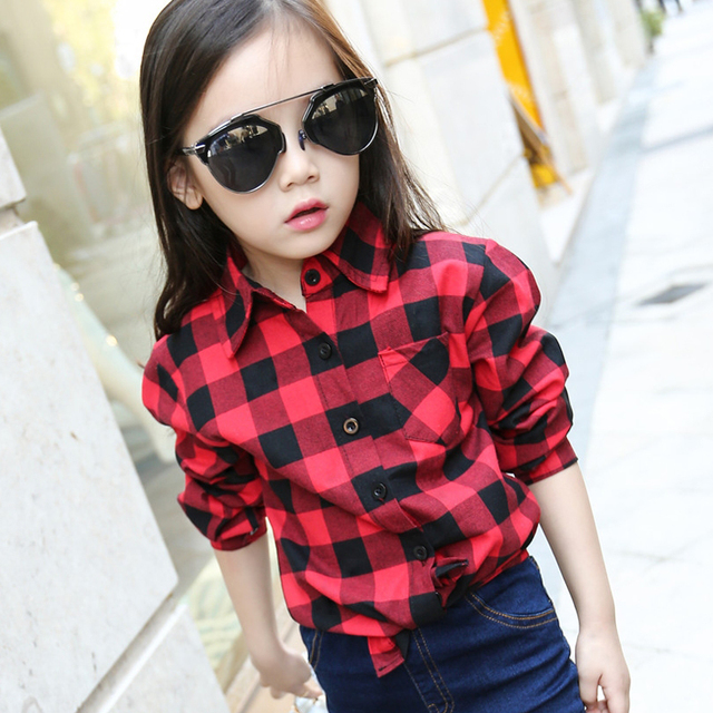 Printed Women Casual Shirt Autumn Small-Large Female And Child Plaid Shirt Long Sleeve Lapel Collar Tops Suit Height 110cm-170cm