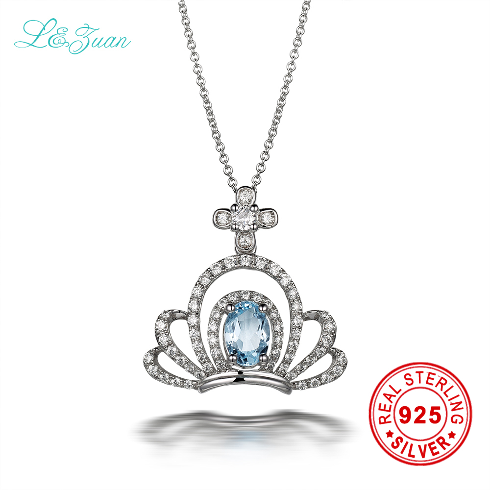 I&zuan 925 sterling silver necklace Natural 0.9ct Topaz Crown Blue stone Pendants sterling silver jewelry Necklaces for women