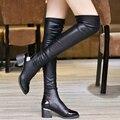 2016 outono inverno ultra-longo trecho na altura do joelho mulheres coxa botas pretas de cano alto bota apontou moda feminina de couro PU sapatos