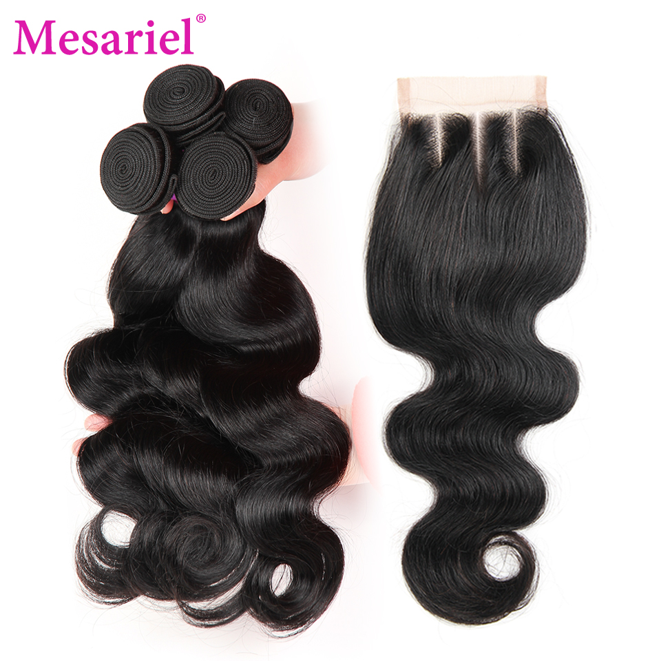 Mesariel Malaysian Body Wave 4 Bundles with Closure 5PCS Lace Closure with Hair Weaves Non-Remy Human Hair Bundles with Closure