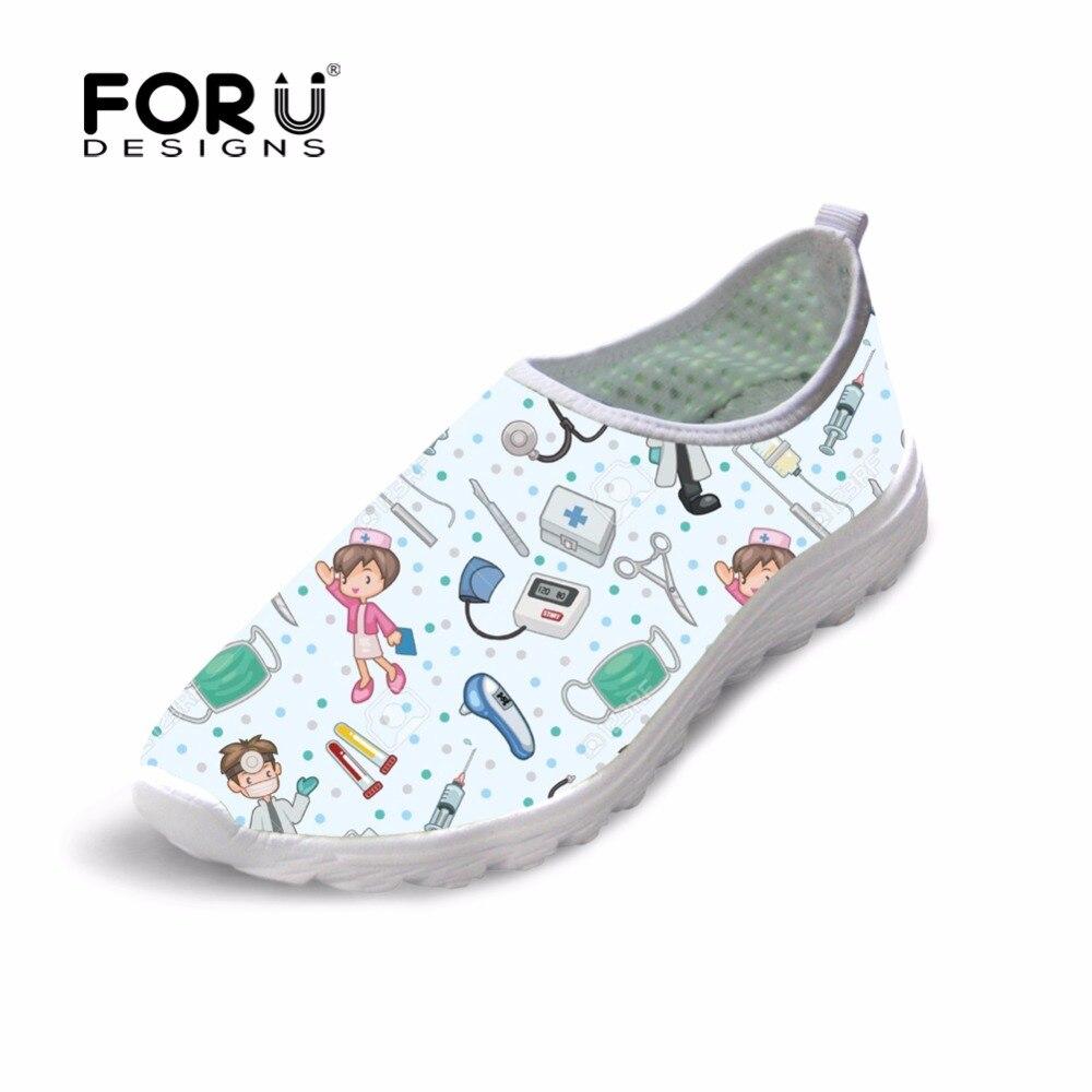FORUDESIGNS Cute Nurse Pattern Women Spring Summer Flats Shoes 3D Cartoon Nursing Bear Light Mesh Woman Beach Loafers Girl