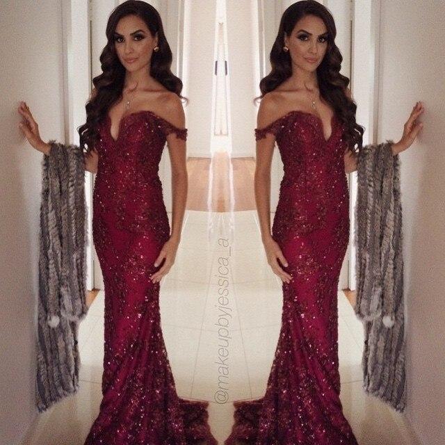 Online Get Cheap Burgundy Prom Dresses Aliexpress Com