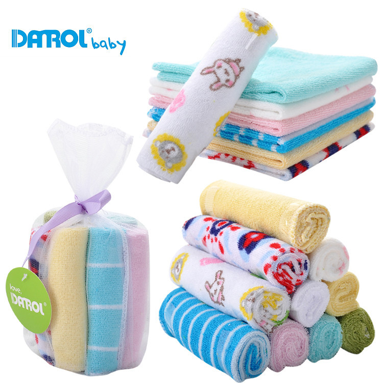 Colorful Single Small Square Towel Handkerchief 8 Peices / Lot Soft Cute For Infant Kid Children Feeding Bathing Face Washing
