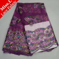 2017 Newest High Quality African French Net Lace purple With sequins colour Cord Embroidered Fan Nigerian tulle Lace Fabrics