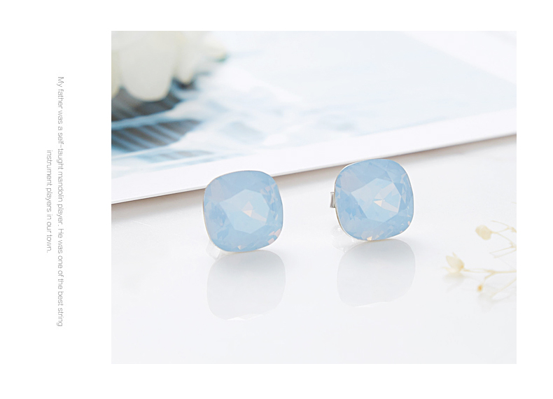 HTB12hf9bdjvK1RjSspiq6AEqXXa2 CDE 925 Sterling Silver Earrings Square Embellished with crystals Stud Earrings Women Earrings Womens Jewellery