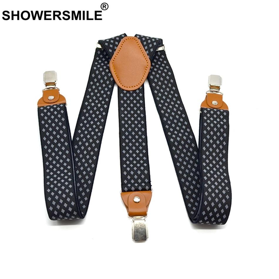 SHOWERSMILE Mens Trouser Belt Plaid Suspenders Elastic 3 Clips Y Back Pants Strap 120cm Plus Size Suspenders Black Male Braces