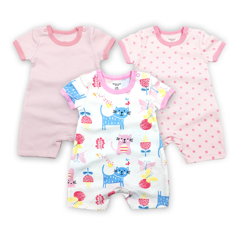 3 Pieces lot Baby Clothing Fantasia Baby Bodysuit Infant Jumpsuit Overall Short Sleeve Body Suit Set Summer Cotton in Bodysuits from Mother Kids