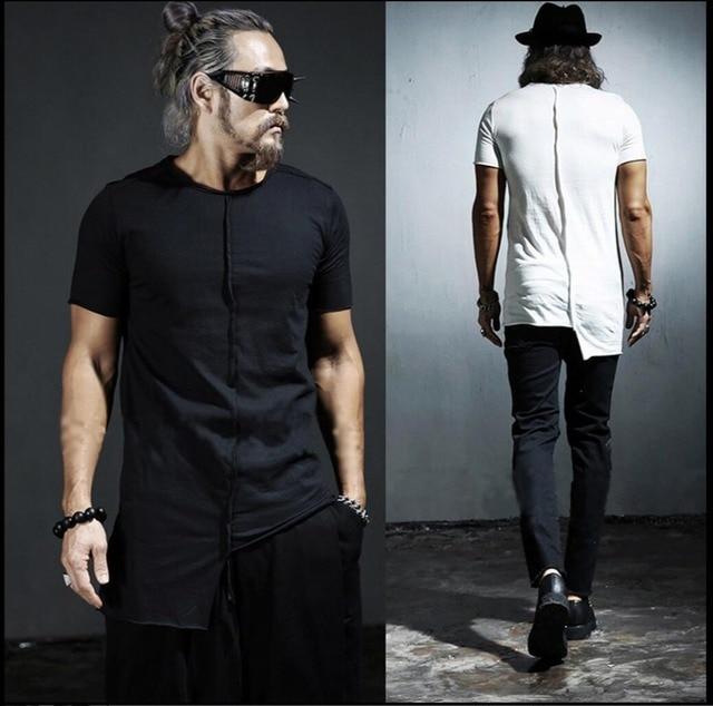 New men s personality asymmetric Slim T-shirt Korean summer tide short- sleeved T-shirt hairstylist singer costumes ceb6684c0