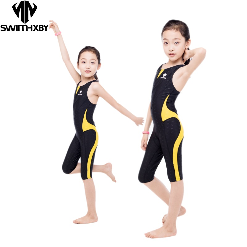 HXBY Arena Swimwear Kids Competitive Swimming One Piece Swimsuit Knee Plavky Girls Swimsuits Bathing Suit Swim Wear hxby swimwear swimming women competitive swimsuit girls swimsuits sharkskin racing competition swim suits knee female