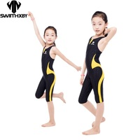 HXBY Arena Swimwear Kids Competitive Swimming One Piece Swimsuit Knee Plavky Girls Swimsuits Bathing Suit Swim Wear