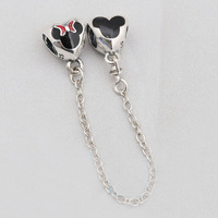 Authentic 925 Sterling Silver Mickey Minnie Safety Chain Fit Original Pandora Bracelet Charm DIY Jewelry Classic