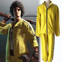 PUBG Yellow Cosplay Costume Bruce Lee Sports Suit For Kids Men War Game Performance Halloween Party Wholesale Free shipping