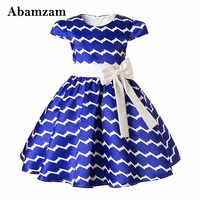 Children Girls Dresses Bow Striped Princess Costume For Kids Fashion Baby Formal Dress Wedding Pageant 2018
