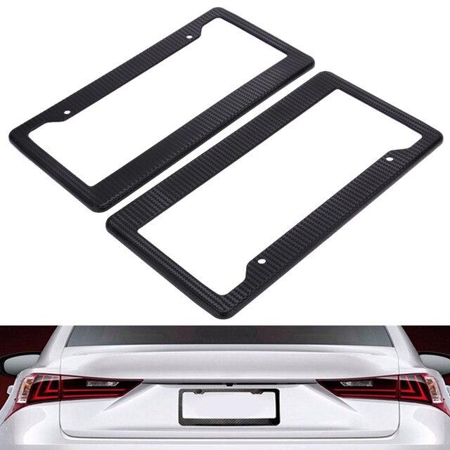 Online Shop 2Pcs Black Carbon Fiber Pattern Car License Plate Frame ...