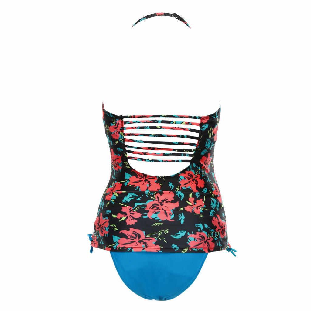 Женский купальник сексуальный танкини из двух предметов Холтер Цветочный Принт женский купальник для беременных пляжный купальный костюм спортивный боди Плюс