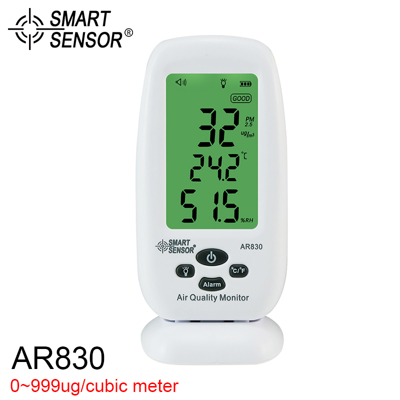 Smart Sensor Digital Air Quality Monitor AR-830 Temperature Humidity Measurement Thermometer Hygrometer pm 2.5 detector digital indoor air quality carbon dioxide meter temperature rh humidity twa stel display 99 points made in taiwan co2 monitor