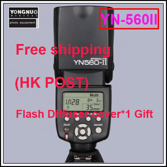 Free shipping Yongnuo Upgraded Flash Speedlite YN-560 II for Canon 450D 400D 350D 300D 60D and For Nikon