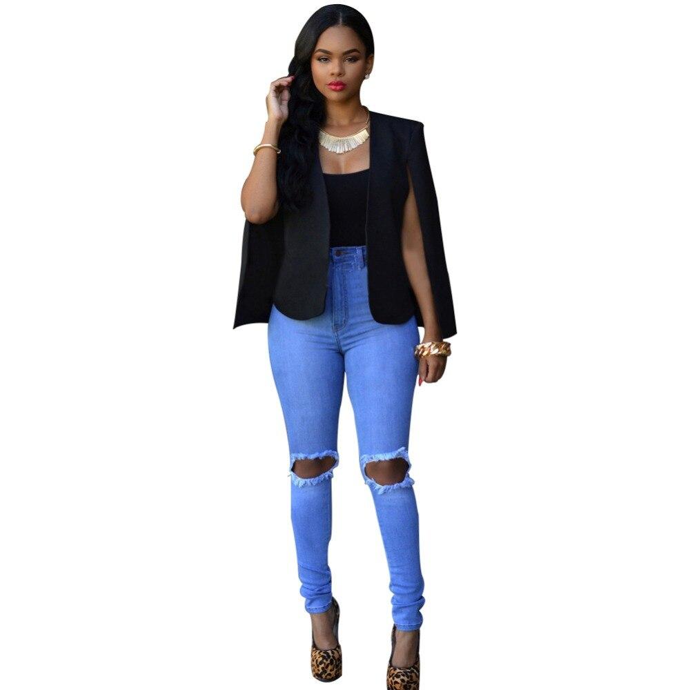 Blazer Feminino 2016 Autumn Women Fashion Long Sleeve Cape Blazer Bomber Jacket Sexy Black White Party Club Cape Blazer Workwear