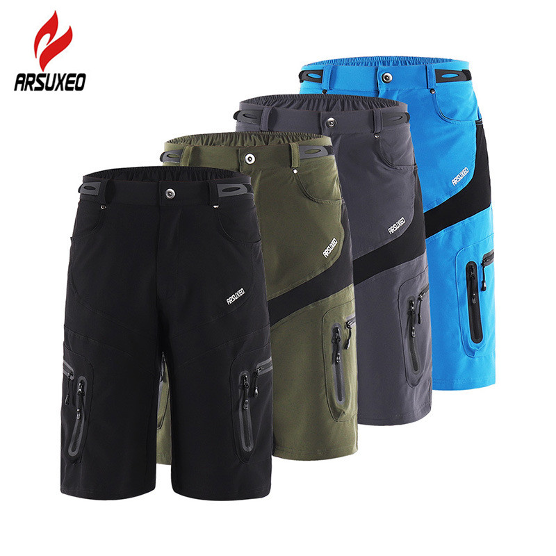 Hiking Shorts Mountain-Bike Outdoor ARSUXEO Men With Zipper-Pocket Breathable Sweat Cycling