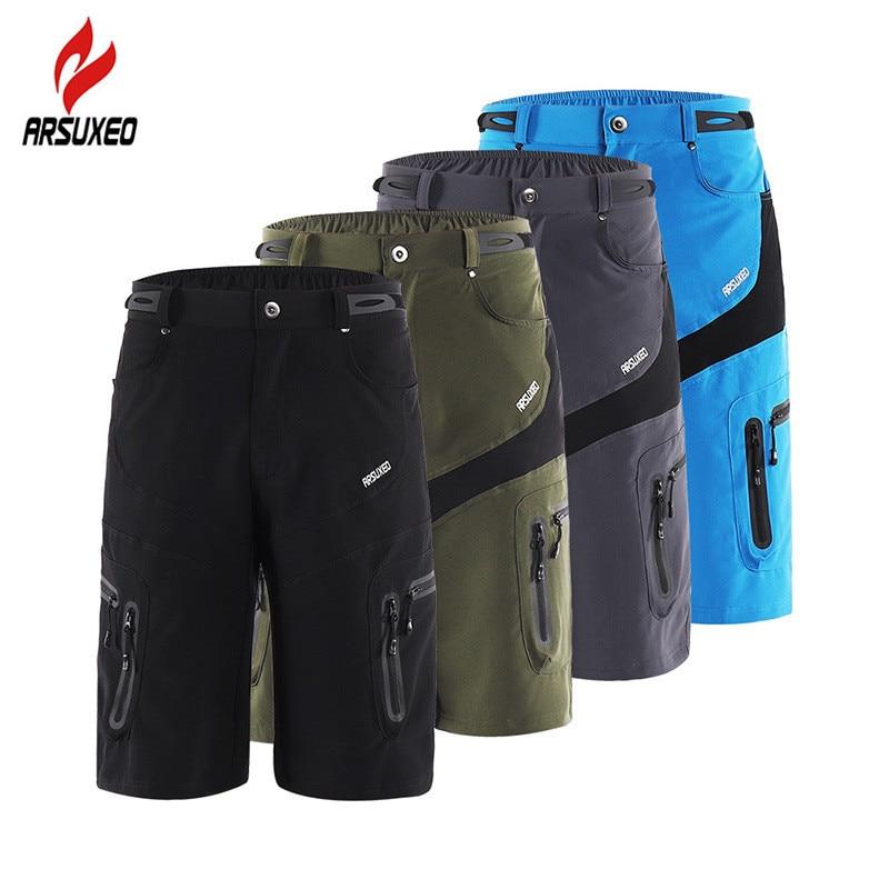 Мужские тактические шорты ARSUXEO, спортивные походные шорты на молнии с карманами, дышащие спортивные велосипедные шорты для горного велосип...