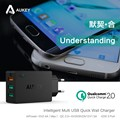 Aukey Quick Charge 2.0 42W 3 Ports USB  Wall Travel Phone Charger Adapter with USB Cable EU/US Plug