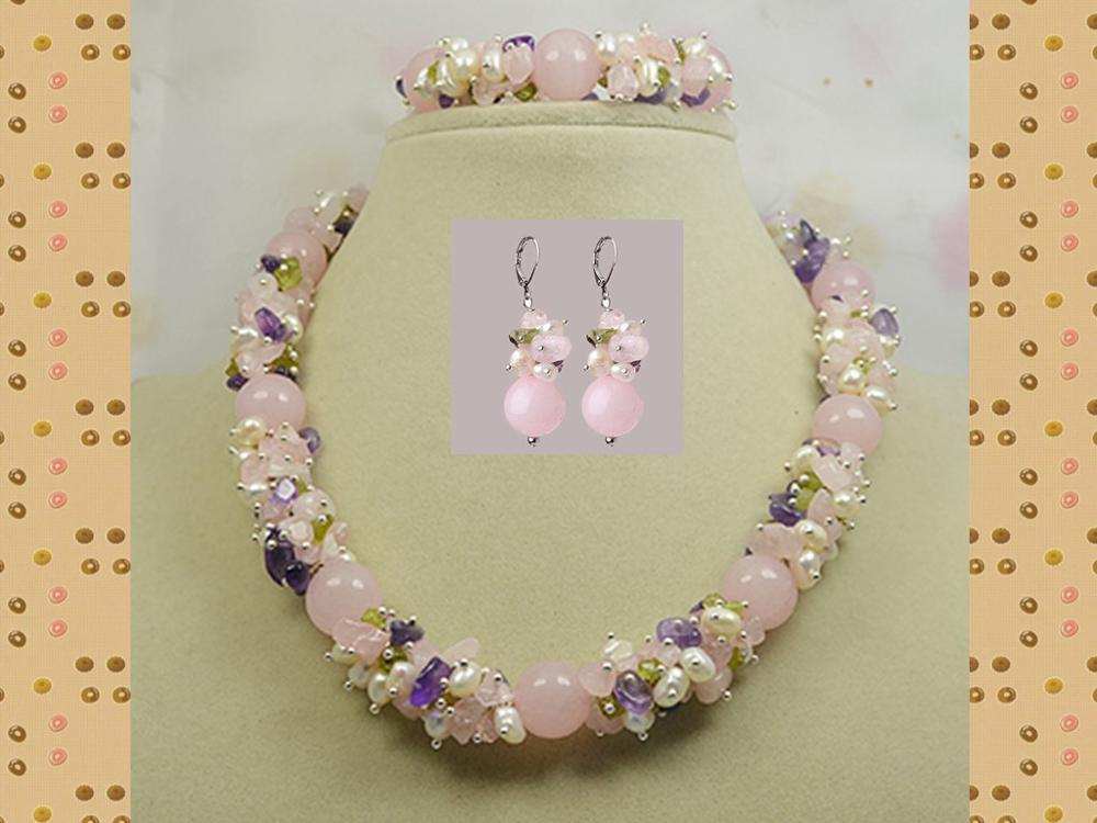 Камень ожерелье браслет, розовый оливин жемчуг смешивается болтаются, ручной работы идеальный драгоценный камень ювелирные изделия - Окраска металла: N B E