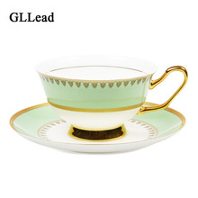 GLLead European Style High Quality Bone China Teacup Ceramic Tea Cups Golden Porcelain Coffee Cup And Saucer Sets