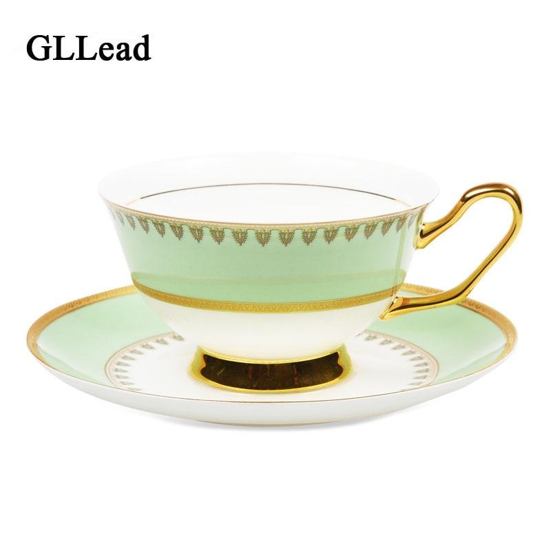 GLLead European Style High Quality Bone China Teacup Seramik Teh Piala Piala Porcelain Emas Kopi Dan Set Pinggan