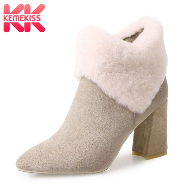 KemeKiss Women Genuine Leather High Heel Boots Half Short Boots Warm Fur Shoes Cold Winter Short Botas Women Footwear Size 34-39 women high heel half short boots thickened fur warm winter plush mid calf snow boot woman botas footwear shoes p21994 size 34 39