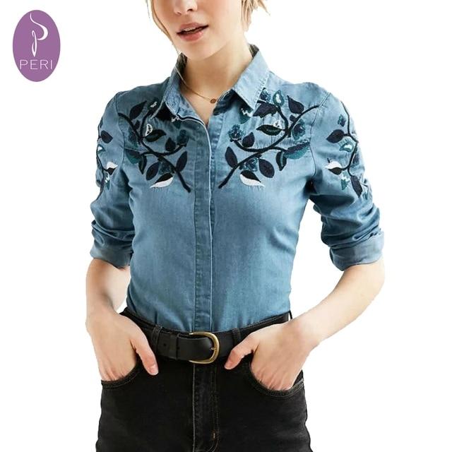 6db6538cd202 € 21.42 |Ninfa marca nuevas hojas de otoño camisa de mezclilla bordados  mujeres clothing jeans camisa jeans feminina blusas blusa camisa de la ...