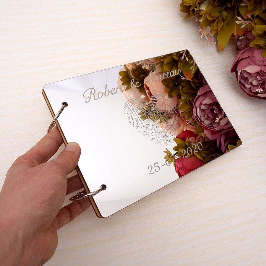A5 Wedding Signature Guest Book Personalized Couples Custom Mirror Fingerprint Shower Gift White Blank Scrapbook Party Favors