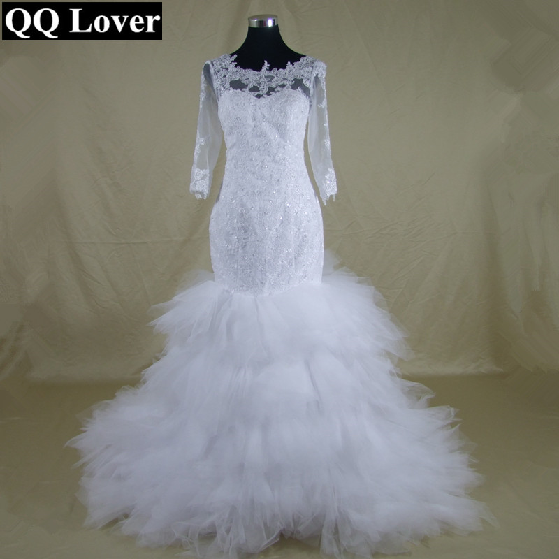 QQ Lover 2018 Sexy African Half Sleeves Mermaid Wedding Dresses Beaded Bridal Gown Custom made