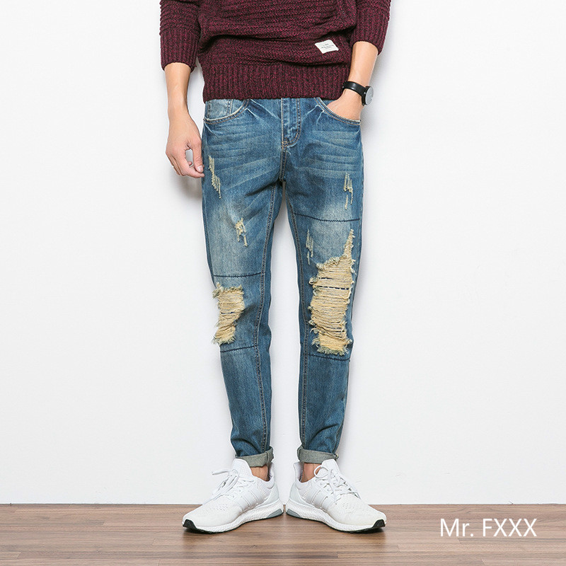 ФОТО 2016 autumn Japanese streetwear men jeans monkey wash scrathced pencil pants heavy moustache effect holes jean for men