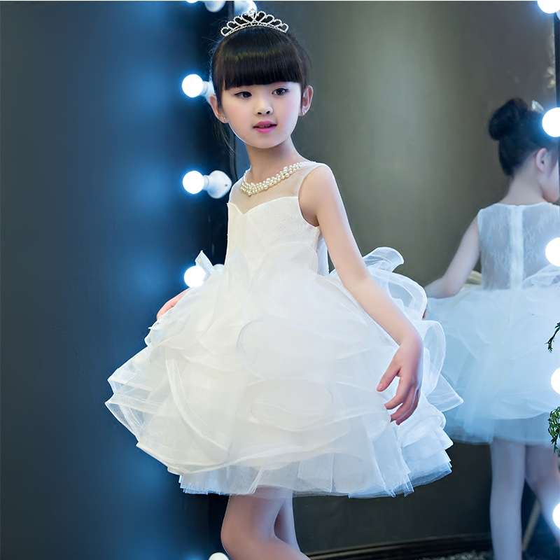 Korean Sweet White Color Girls Children Summer Kids Party Beading Lace Dresses Princess Birthday Party Wedding Dresses Clothes