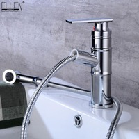 Pull Out Bathroom Faucets Sink Water Mixer Hot Cold Crane Copper Chrome Finished Bath Faucets Deck Mounted EL2201C